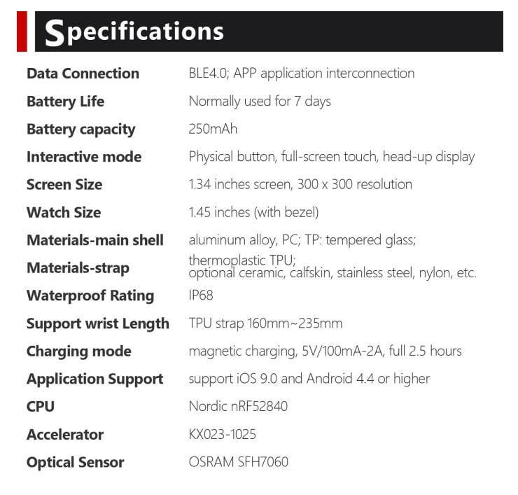 Vela Watch Specifications
